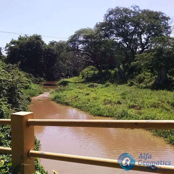 Levantamiento topográfico de río y puente Alfa Geomatics El Salvador
